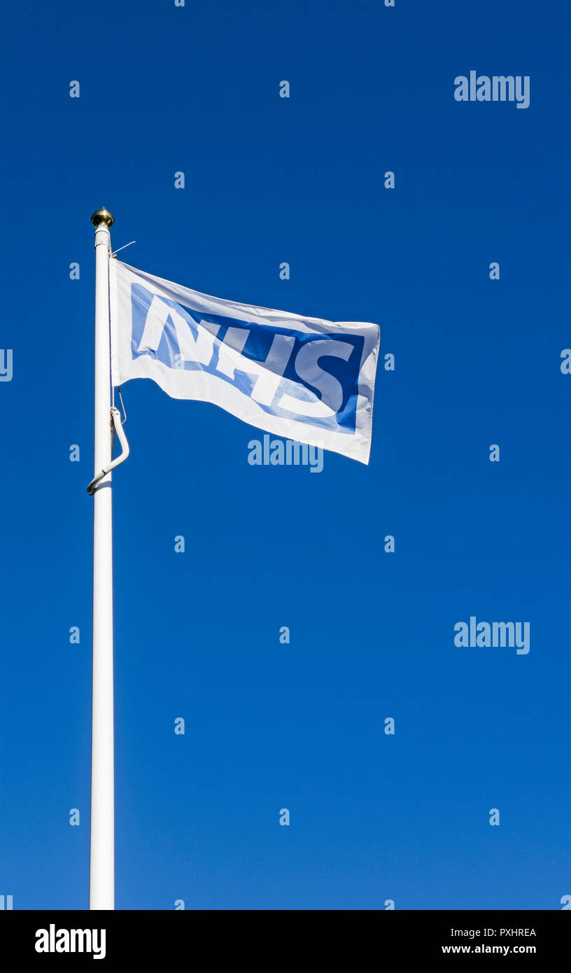 An NHS flag flying on a flagpole against a background of blue sky - Stock Image