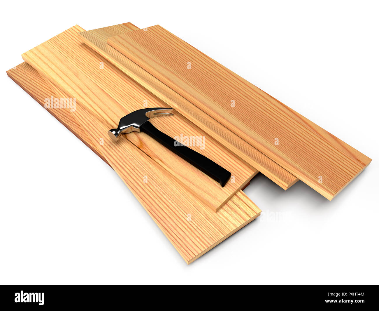 Wooden planks and hammer on a white floor. 3D rendering - Stock Image