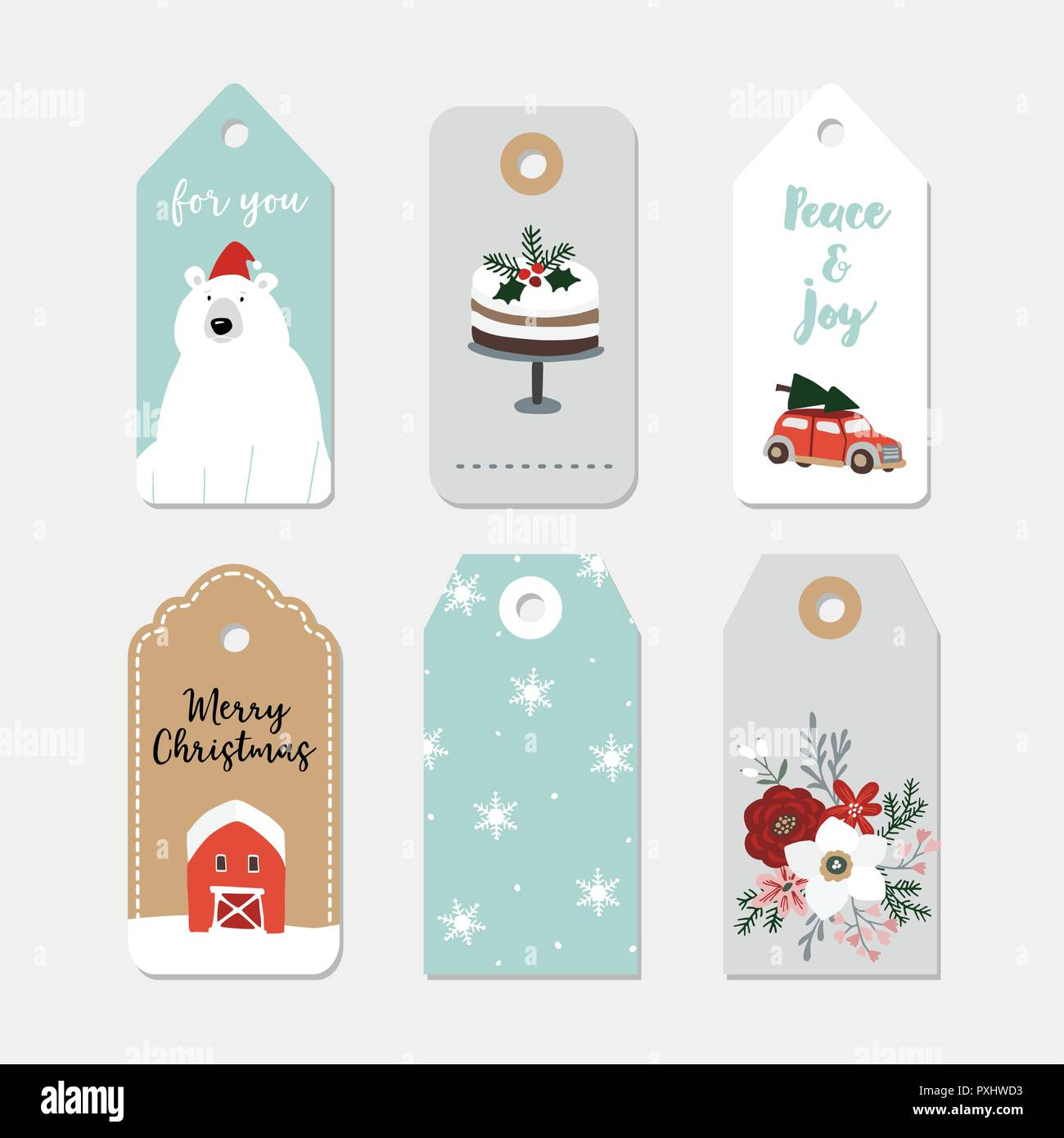 Vintage Christmas gift tags set. Hand drawn labels with winter ...