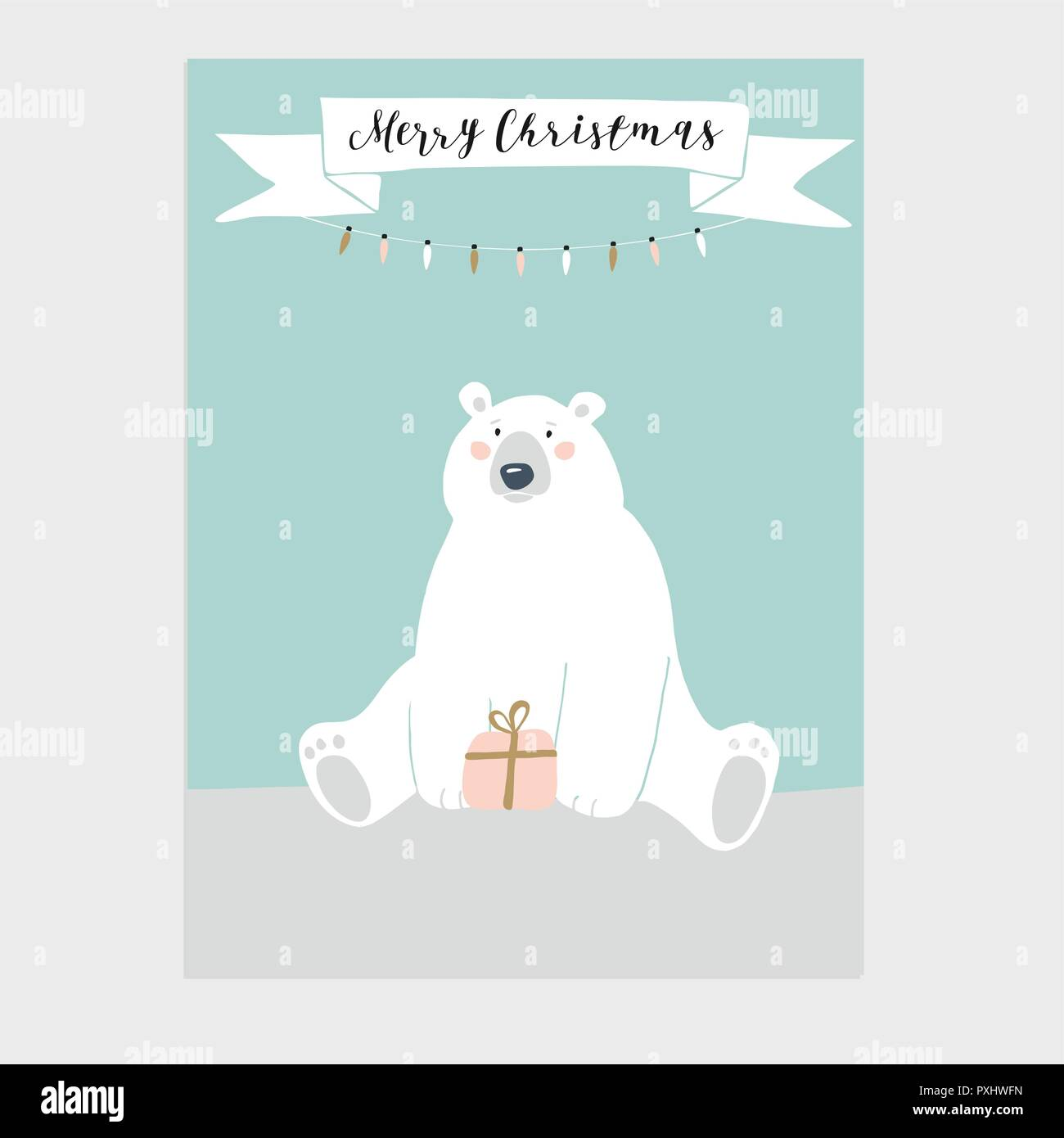Christmas Wishes Bear.Cute Merry Christmas Greeting Card Invitation With Polar