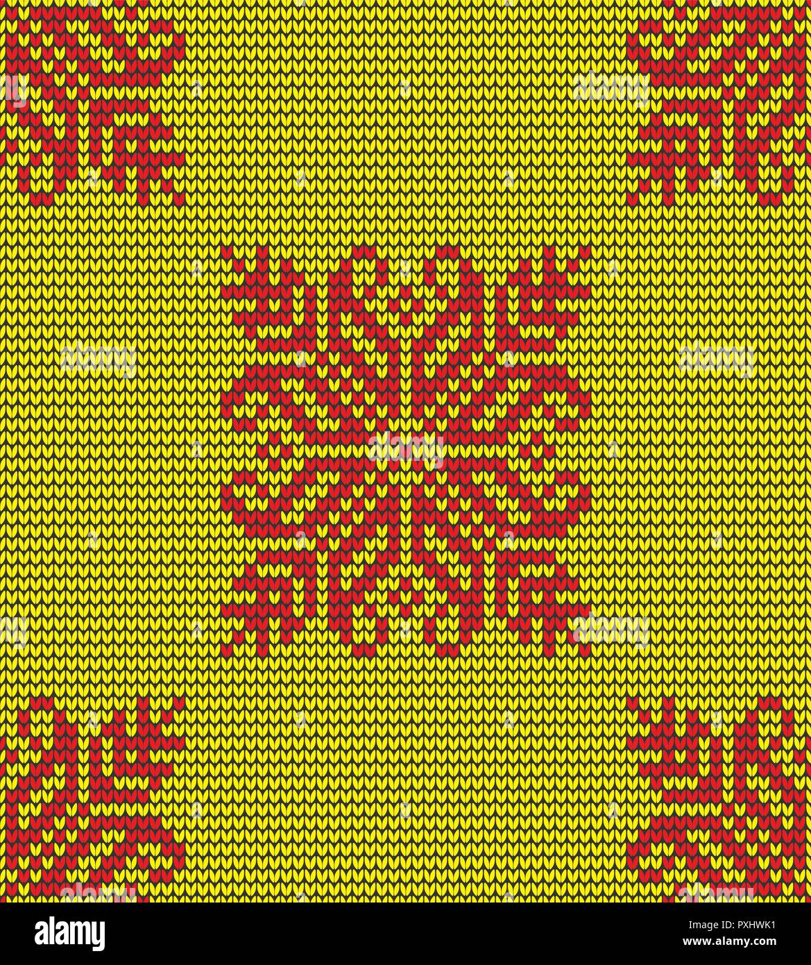 Abstract yellow and red seamless knitting pattern with penguins background - Stock Vector
