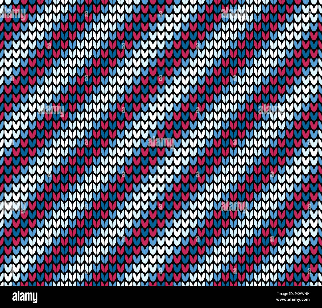 Abstract red blue and white diagonal seamless knitting pattern background - Stock Vector