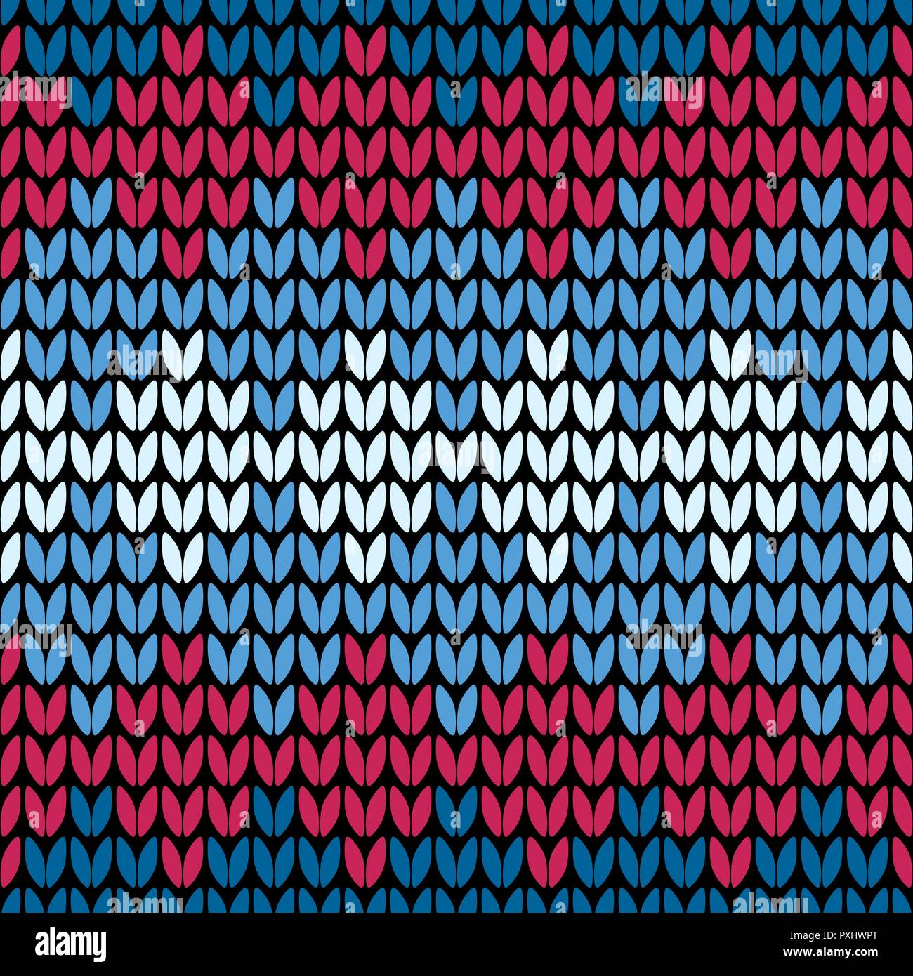 Abstract red and blue seamless knitting pattern wallpaper - Stock Vector