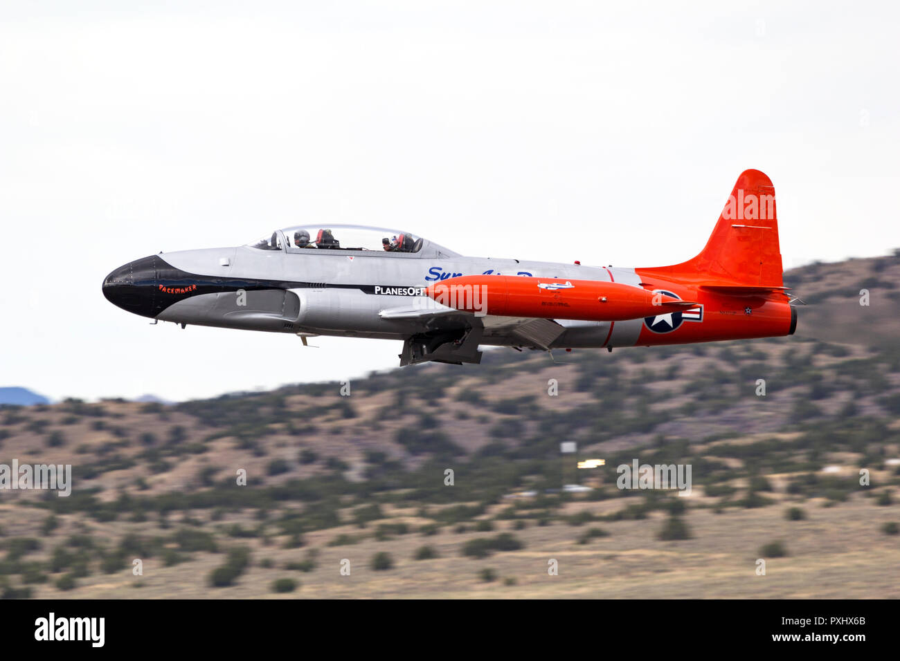 Planes of Fame Canadair CT-133 Shooting Star takes to the air as the pace plane for a Unlimited Class Heat Race during the 2018 National Championship  - Stock Image