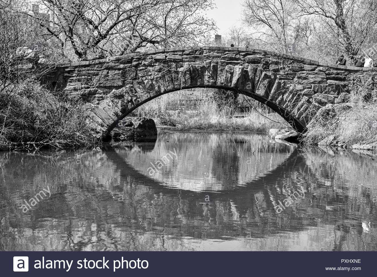 Black and White of Gapstow Bridge in New York City - Stock Image