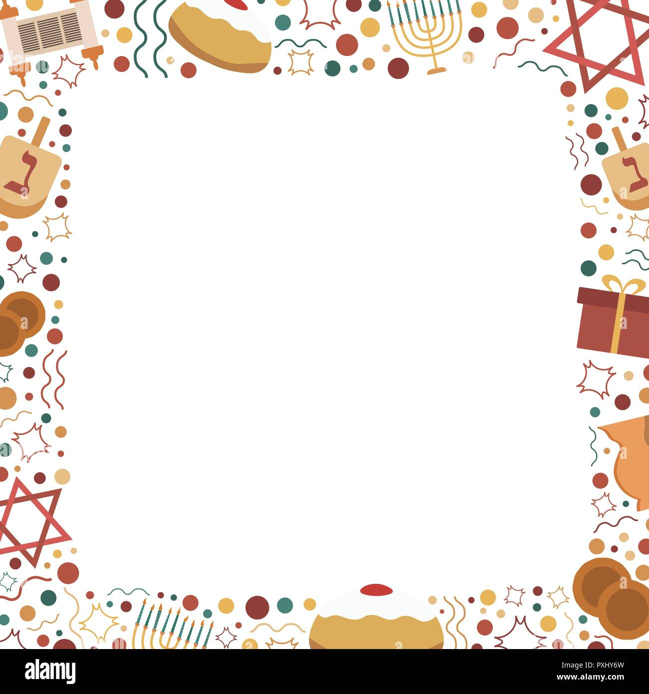 Frame with Hanukkah holiday flat design icons. Template with space for text, isolated on background. - Stock Vector