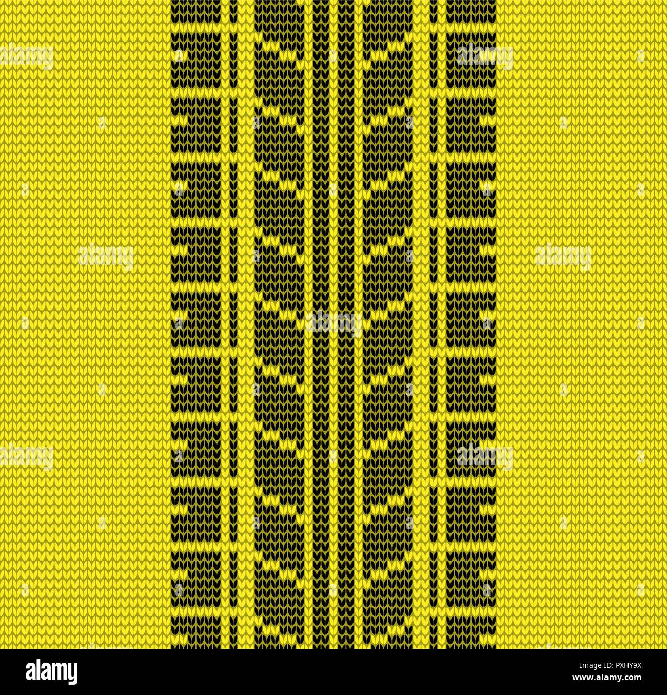 Abstract black and yellow tire track seamless knitting pattern background - Stock Vector