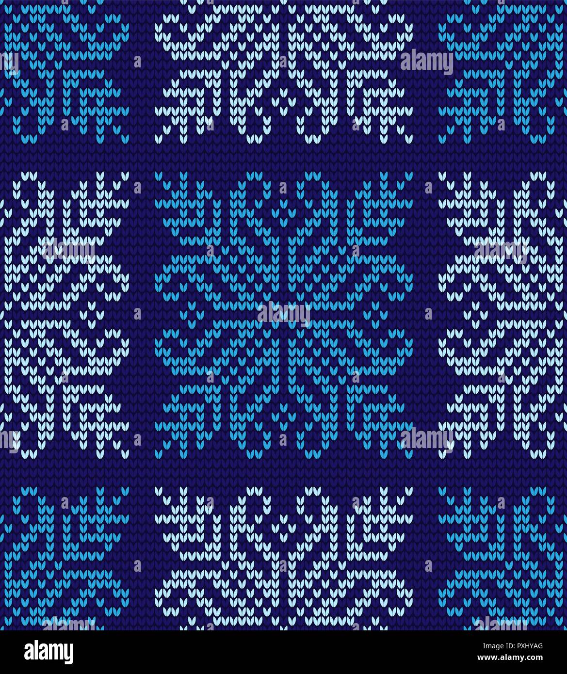 Abstract blue and white seamless knitting pattern with snowflakes background - Stock Vector