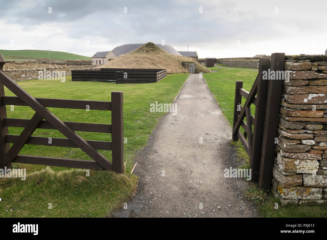 Entrance to Skara Brae visitor centre Orkney Islands - Stock Image