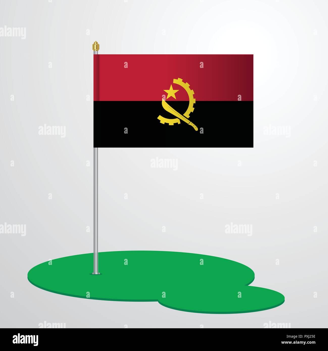 Angola Flag Pole - Stock Vector