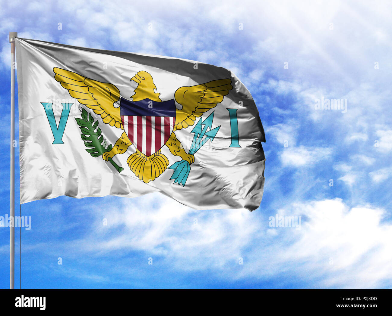 National flag of Virgin Islands of the United States on a flagpole in front of blue sky. - Stock Image