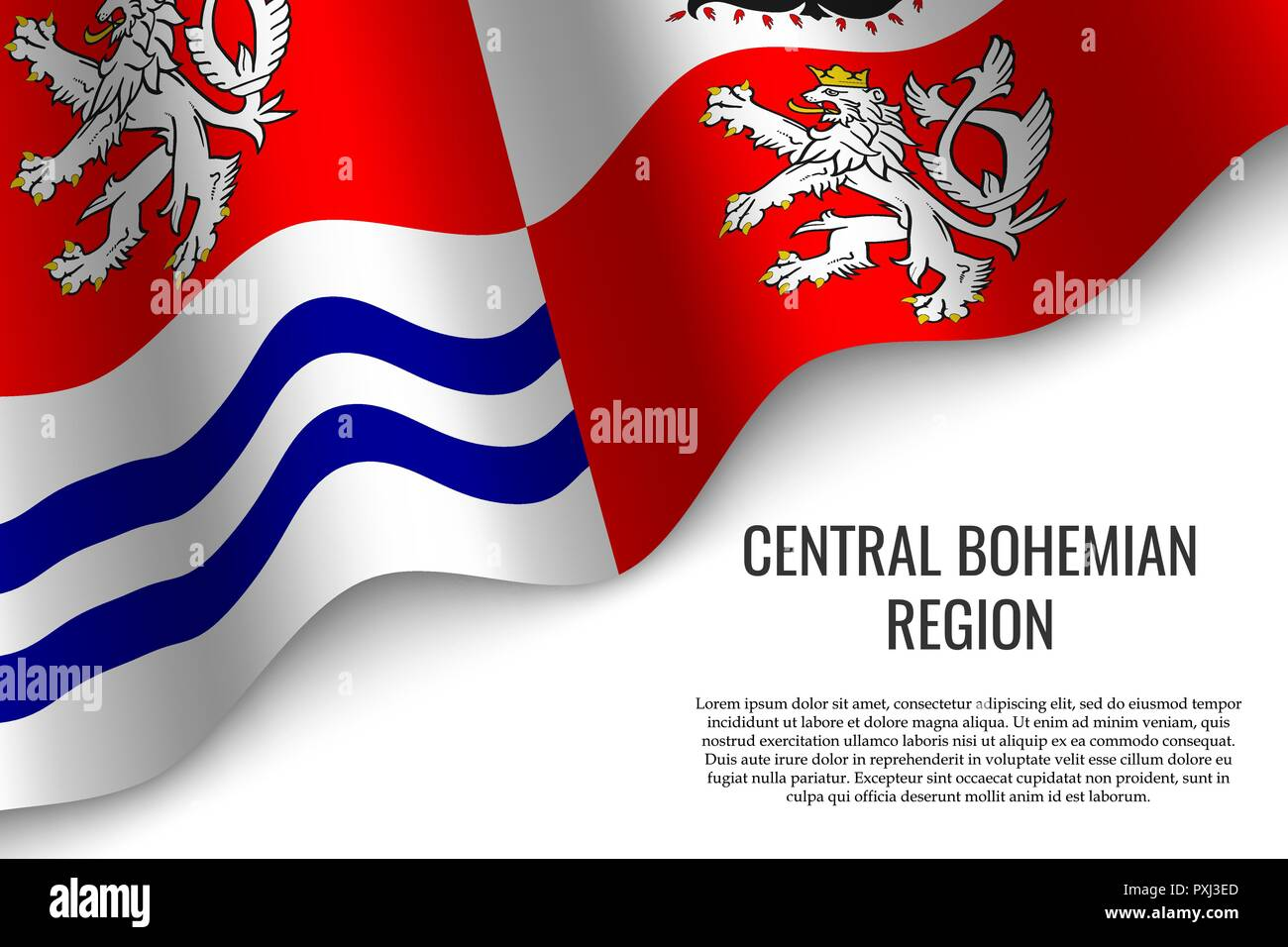 waving flag of Central Bohemian Region is a region of Czech Republic on white background. Template for banner or poster. - Stock Vector