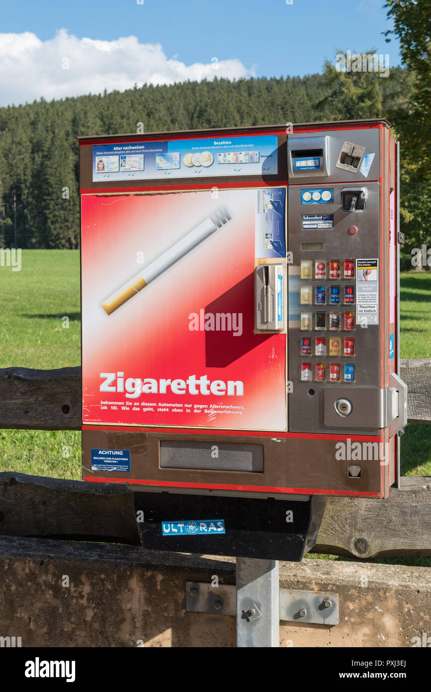 cigarette vending machine in the tourist village of Titisee-Neustadt,  Germany - Stock Image