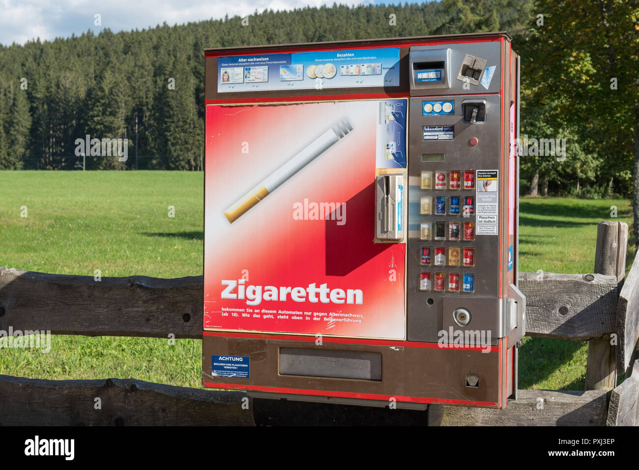 cigarette vending machine in the tourist village of Titisee-Neustadt, Black Forest, Germany - Stock Image