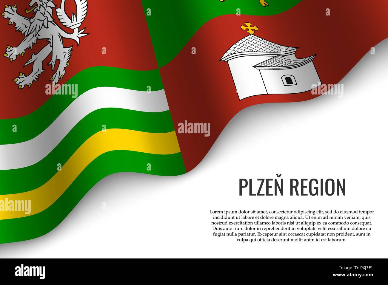 waving flag of Plzen Region is a region of Czech Republic on white background. Template for banner or poster. - Stock Vector
