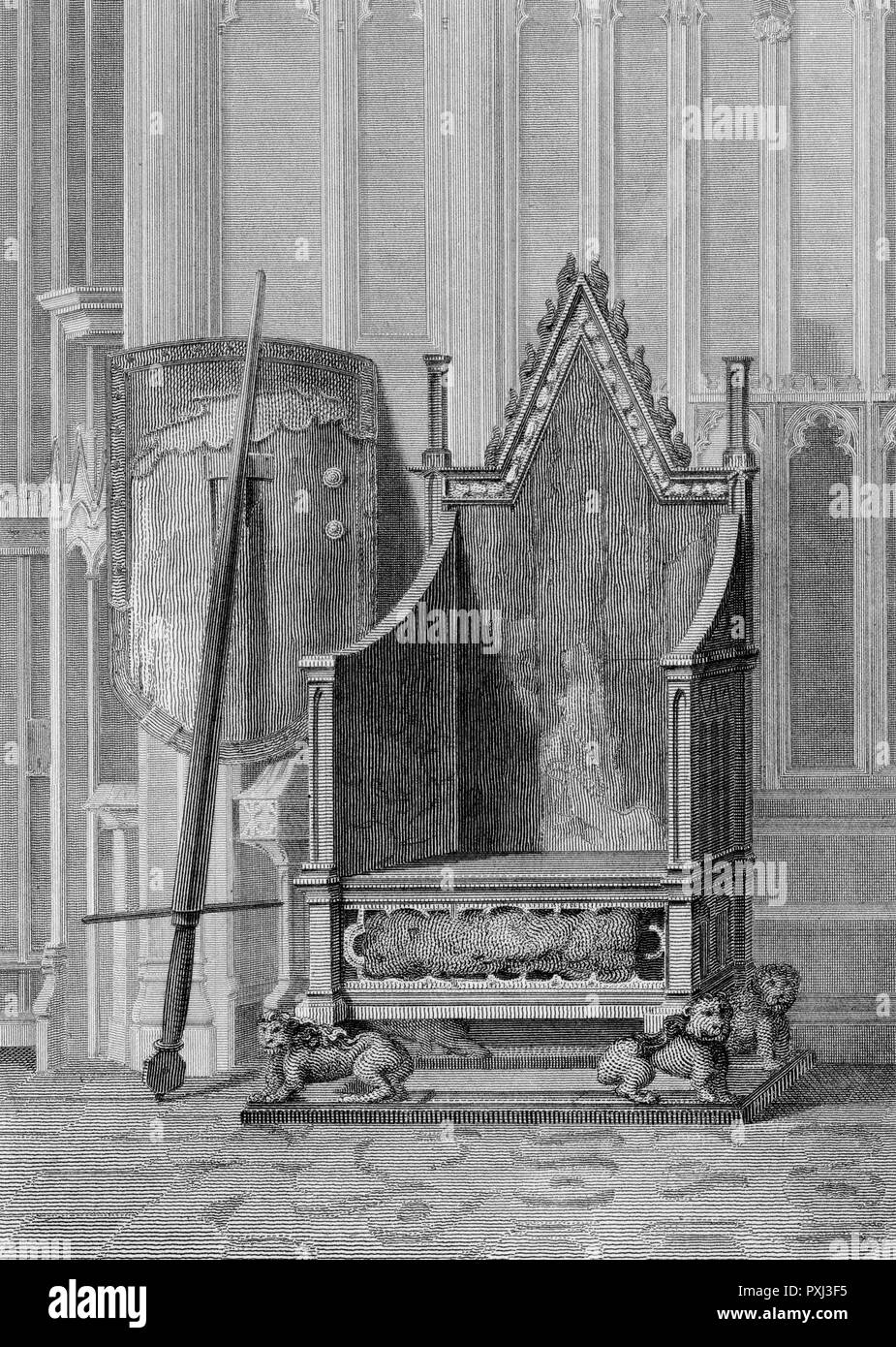 The Coronation Chair at Westminster Abbey.       Date: c1825 - Stock Image
