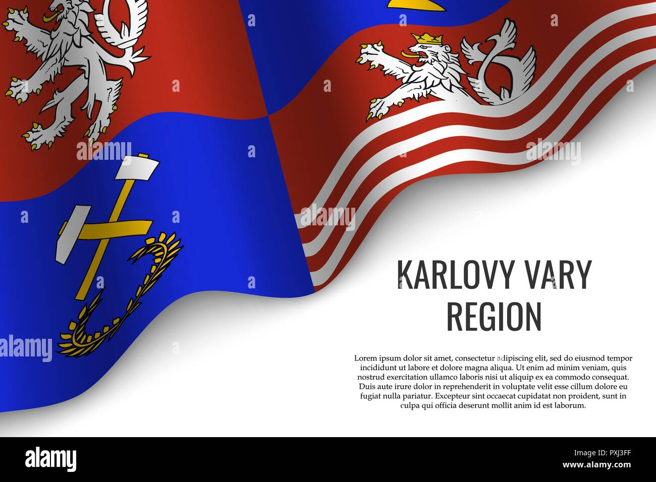 waving flag of Karlovy Vary Region is a region of Czech Republic on white background. Template for banner or poster. - Stock Vector