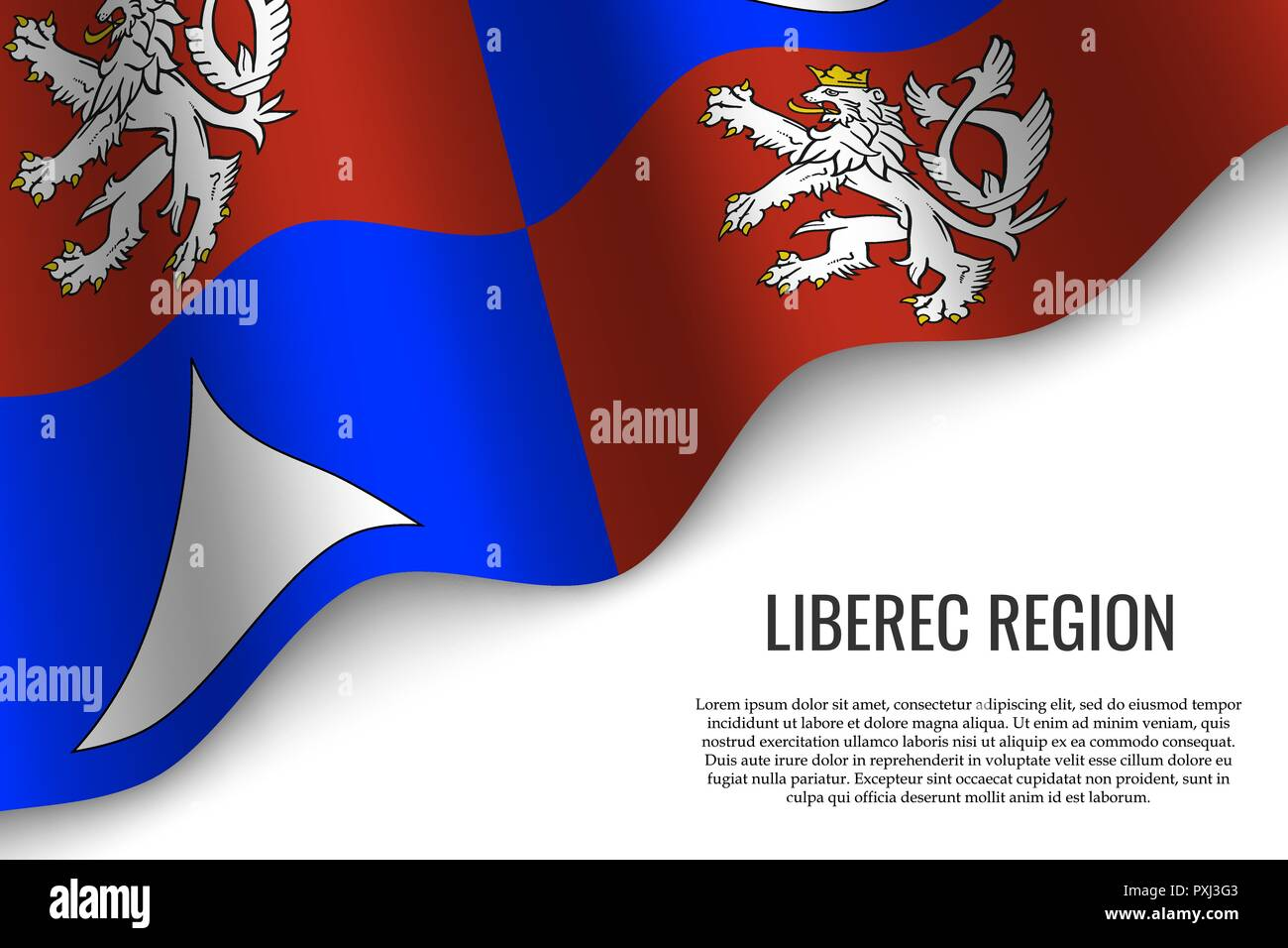 waving flag of Liberec Region is a region of Czech Republic on white background. Template for banner or poster. - Stock Vector