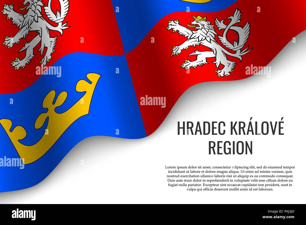 waving flag of Hradec Kralove Region is a region of Czech Republic on white background. Template for banner or poster. - Stock Vector