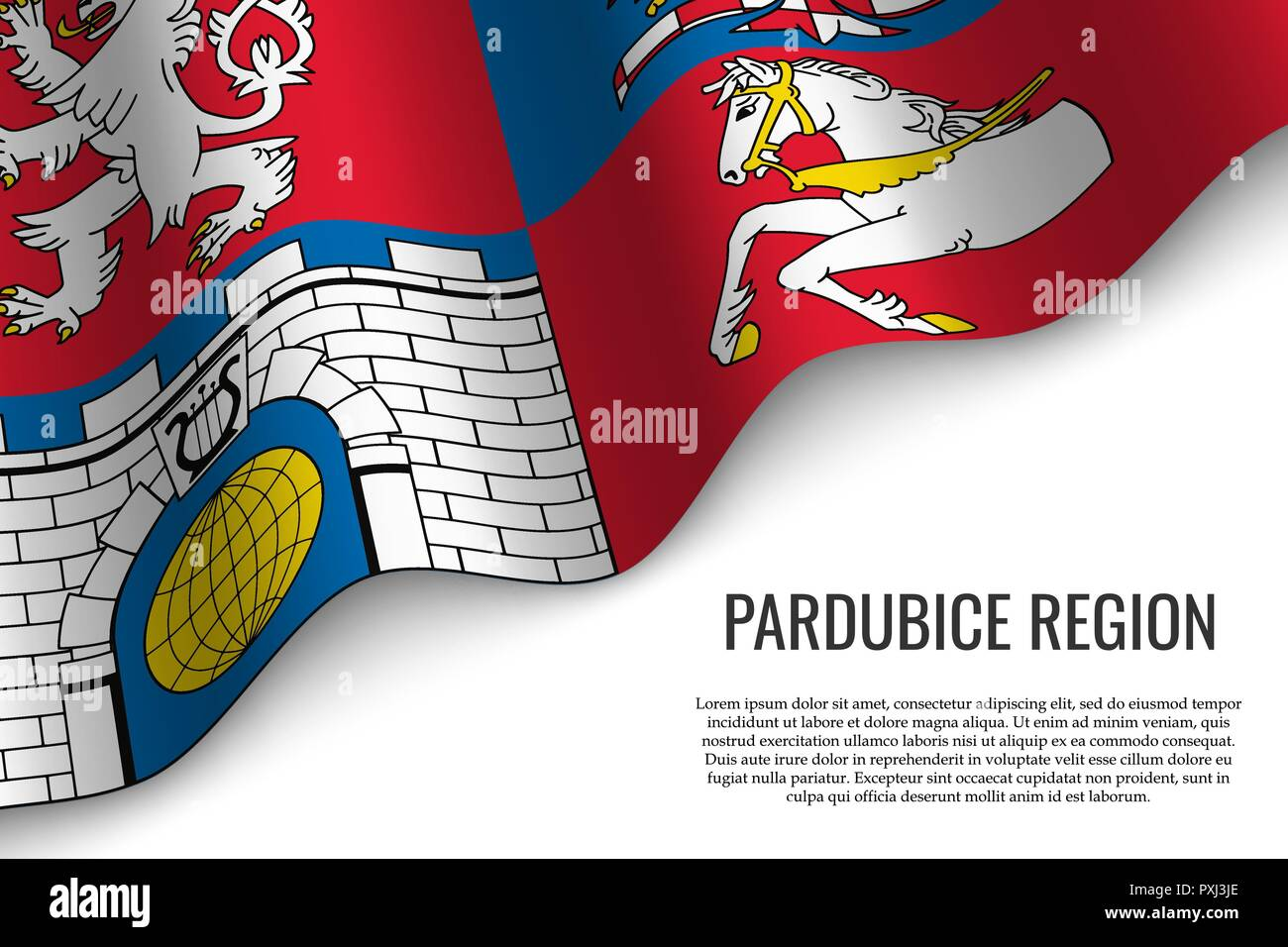waving flag of Pardubice Region is a region of Czech Republic on white background. Template for banner or poster. - Stock Vector