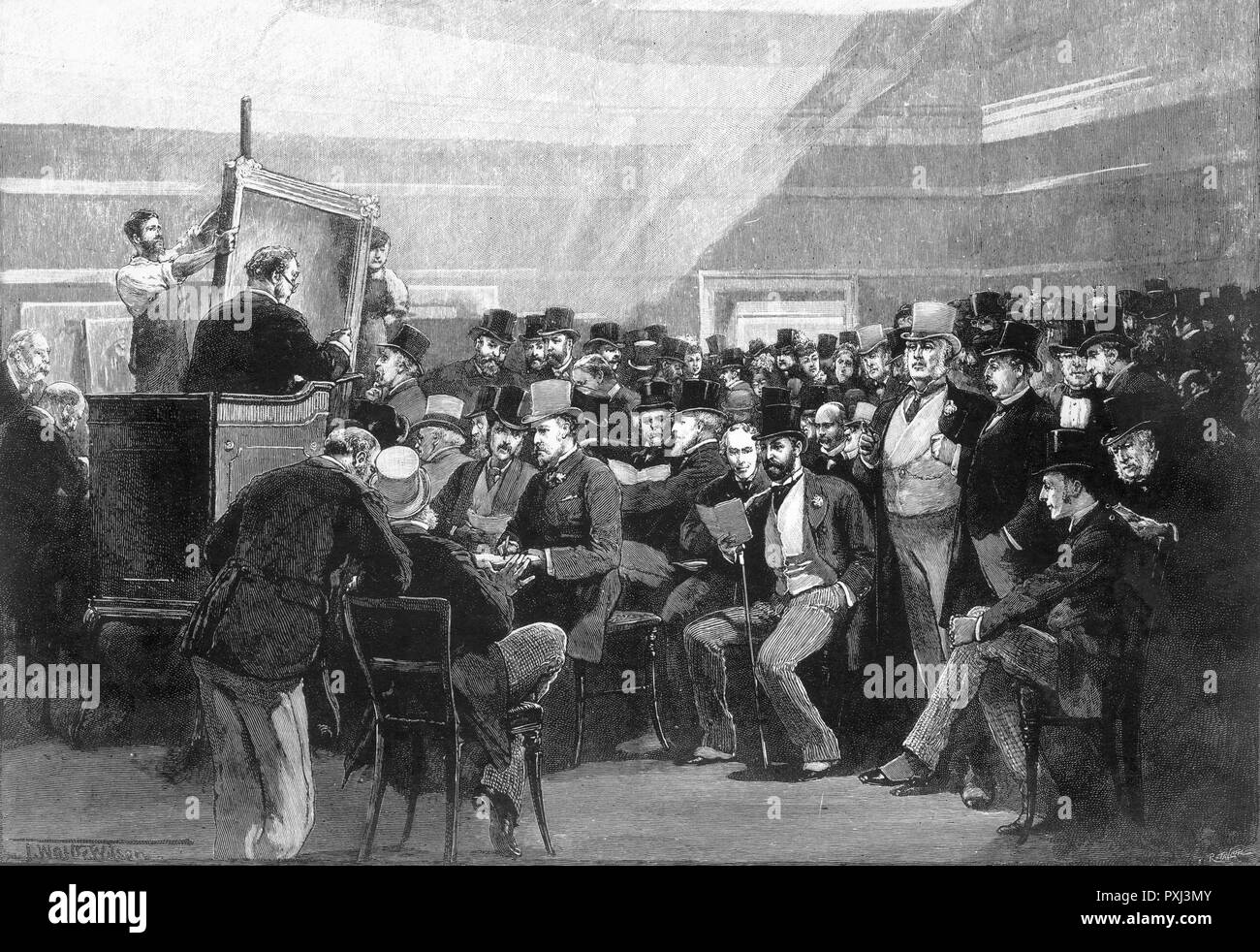 A sale of art works at Christie's in London.         Date: 1888 - Stock Image
