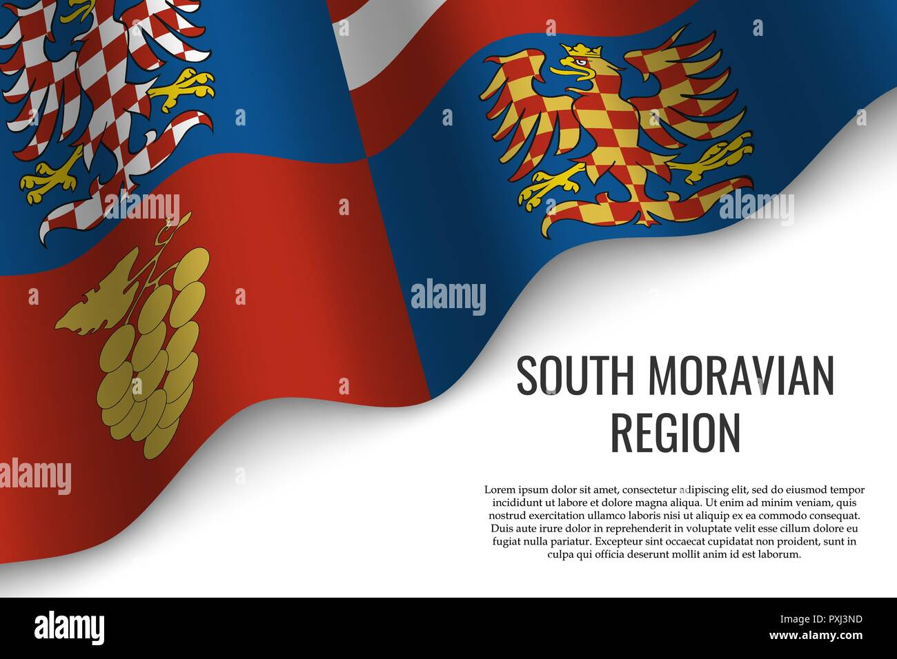 waving flag of South Moravian Region is a region of Czech Republic on white background. Template for banner or poster. - Stock Vector