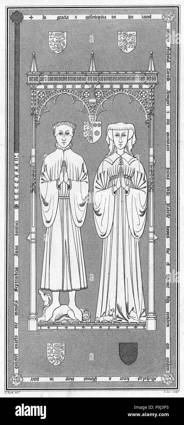 Engraving after a brass plate memorial to Nicholas Carew (or De Carru, c1356-1432) and his wife Isabella (or Isabel), in St Mary's Church, Beddington, Surrey. Carew was Sheriff of Surrey and Sussex, 1391-1392 and 1400-1401, and MP for Surrey and Sussex, 1394, 1395, 1397 and 1417.      Date: 15th century - Stock Image