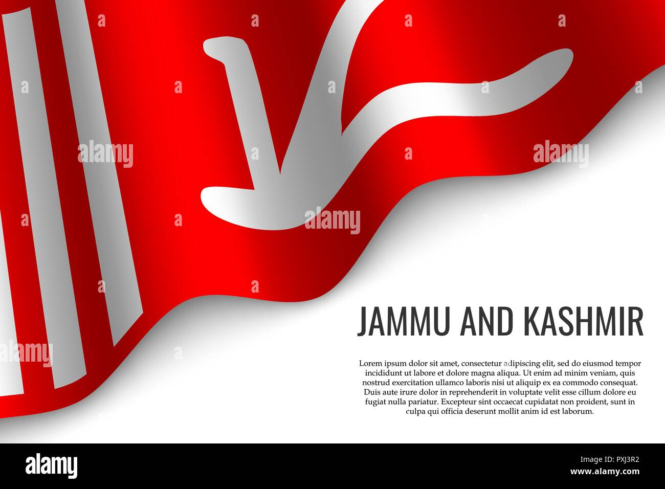 waving flag of Jammu and Kashmir is a region of India on white background. Template for banner or poster. - Stock Vector