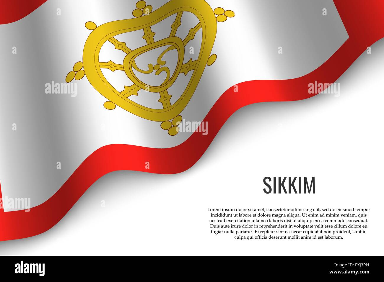 waving flag of Sikkim is a region of India on white background. Template for banner or poster. - Stock Vector