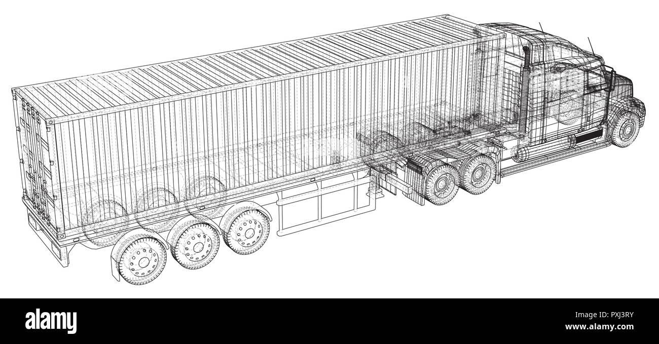 vehicle big cargo truck eps10 format vector created of 3d PXJ3RY vehicle big cargo truck eps10 format vector created of 3d stock