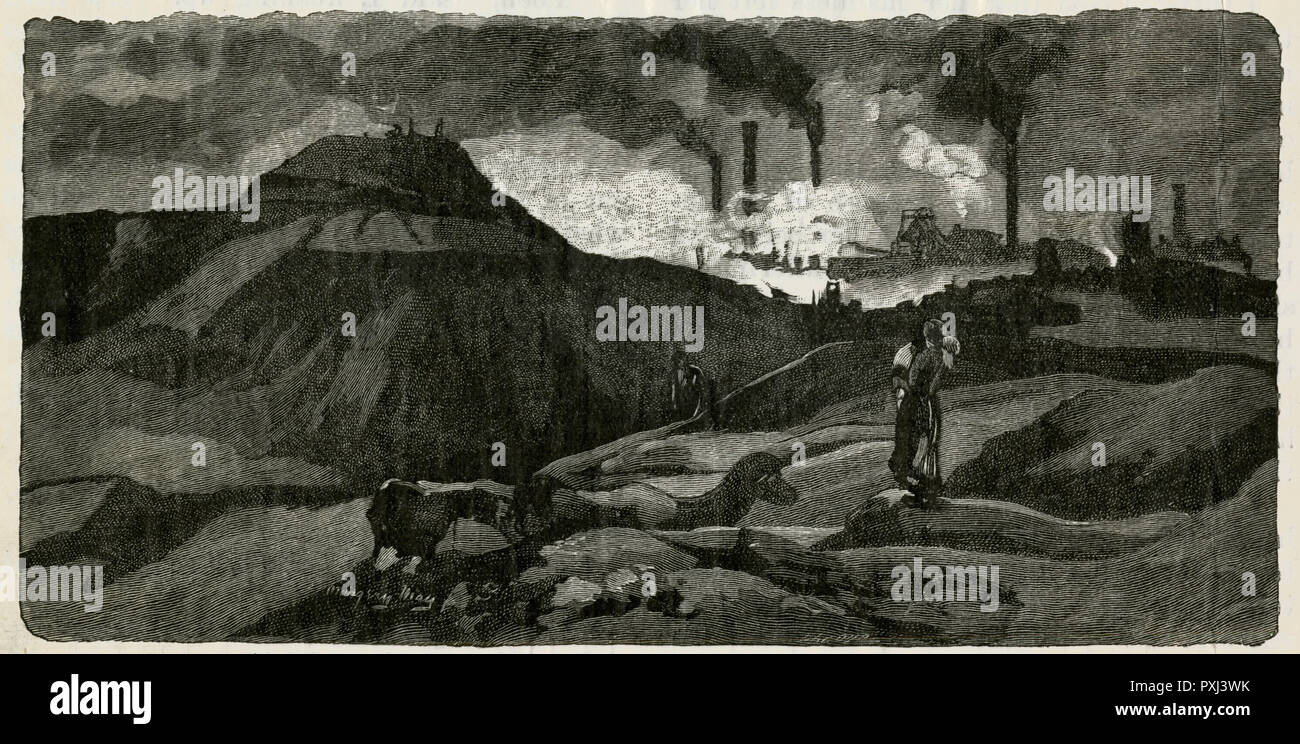 'The Valley of Desolation' Factories and mines light up the countryside with a dark Satanic glow      Date: circa 1895 - Stock Image