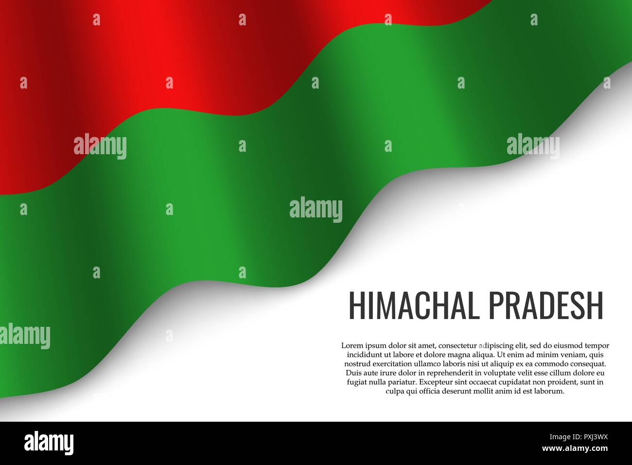 waving flag of Himachal Pradesh is a region of India on white background. Template for banner or poster. - Stock Vector