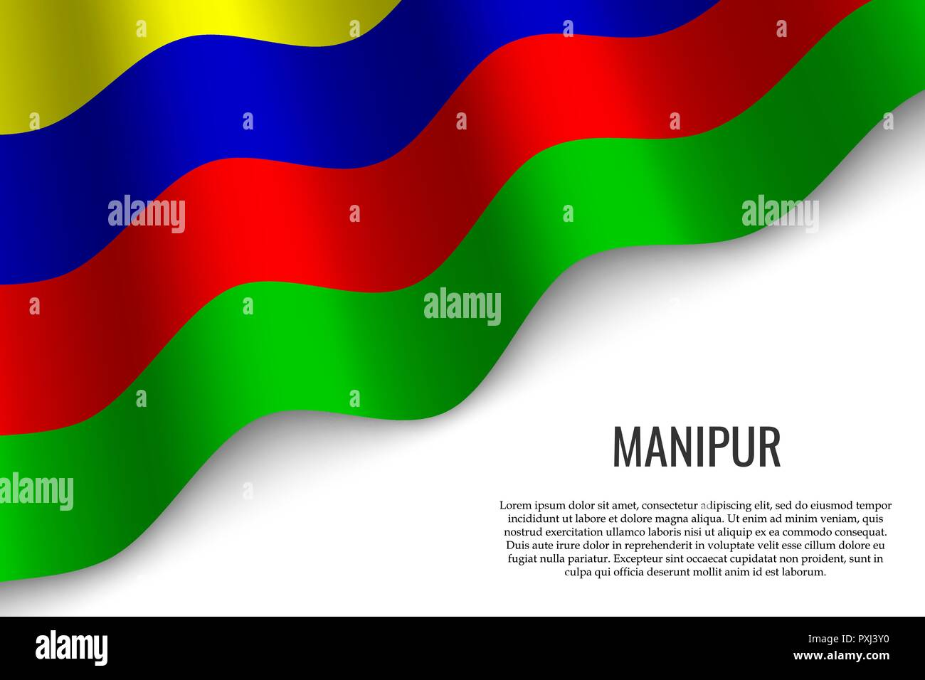 waving flag of Manipur is a region of India on white background. Template for banner or poster. - Stock Vector