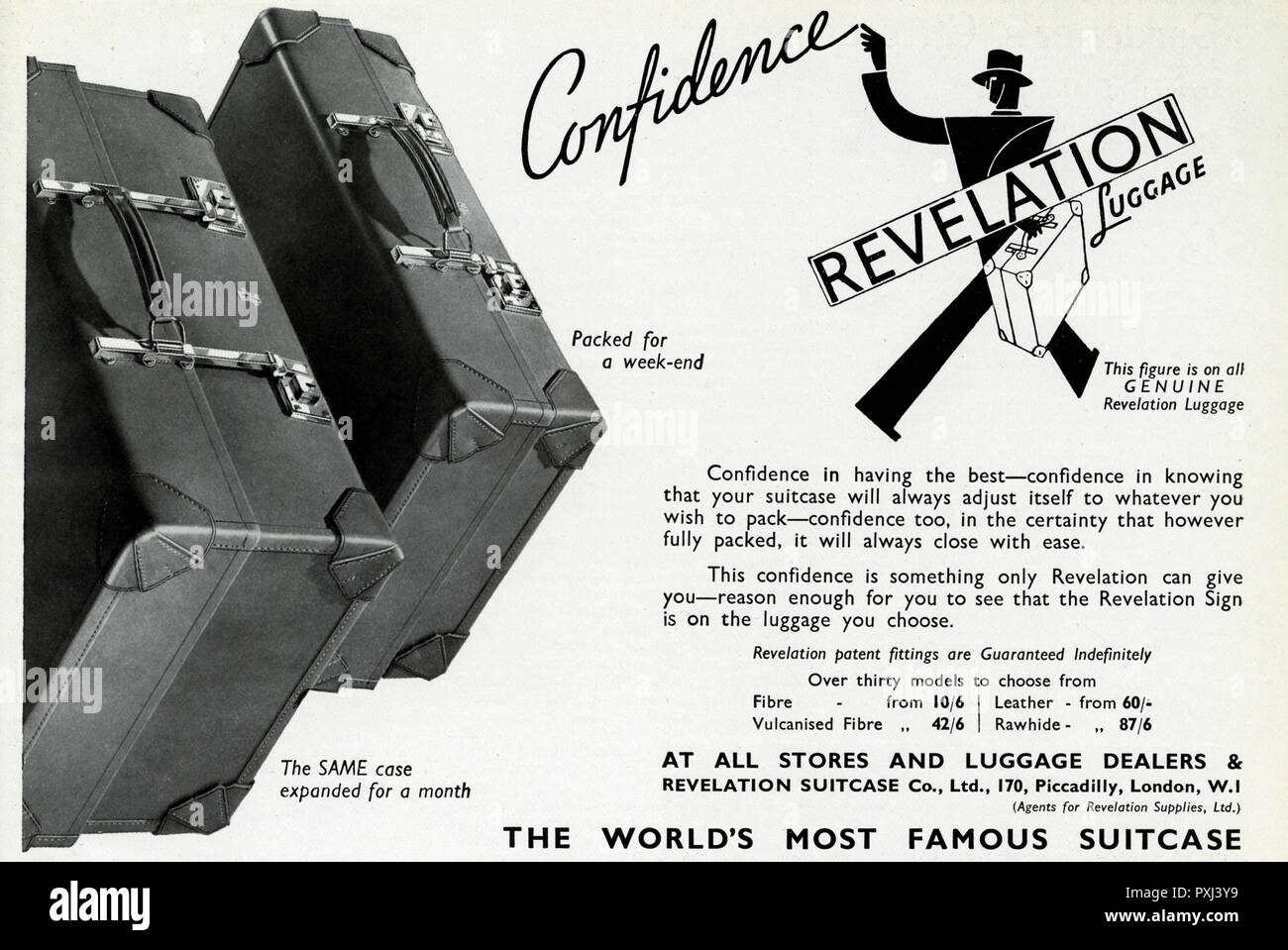 Expanding suitcases. Confidence in having the best-confidence in knowing that your suitcase will always adjust itself to whatever you wish to pack-confidence too, in the certainty that however fully packed, it will always close with ease.     Date: 1939 - Stock Image