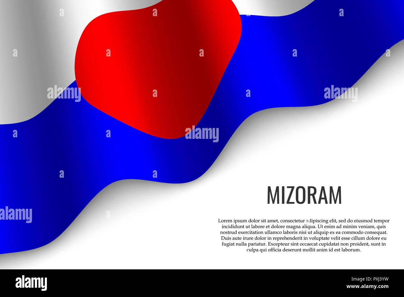 waving flag of Mizoram is a region of India on white background. Template for banner or poster. - Stock Vector