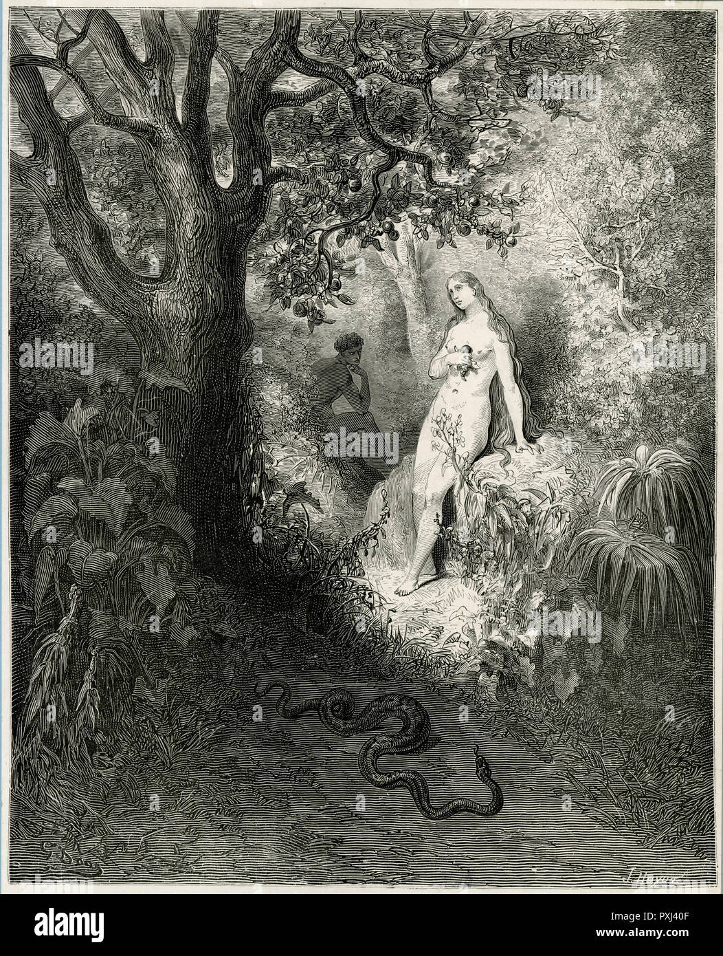 Eve yields to temptation while the serpent slides discreetly away Stock Photo
