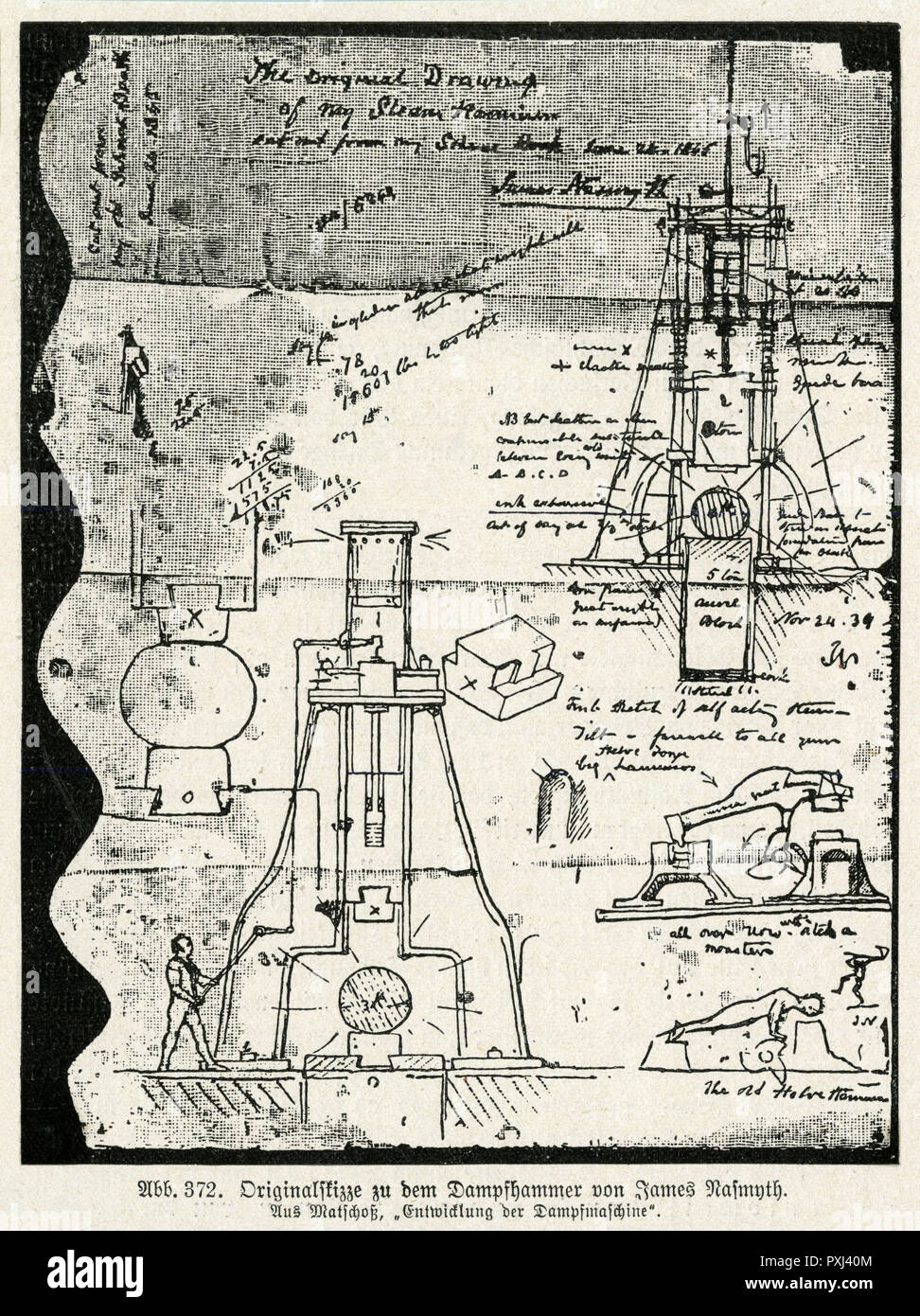 STEAM HAMMER - Original drawings for Nasmyth's Steam Hammer. Stock Photo