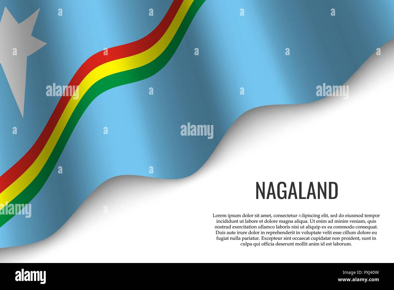 waving flag of Nagaland is a region of India on white background. Template for banner or poster. - Stock Vector