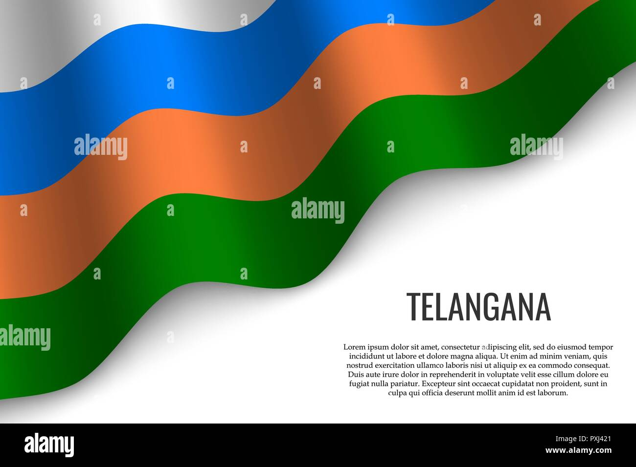 waving flag of Telangana is a region of India on white background. Template for banner or poster. - Stock Vector