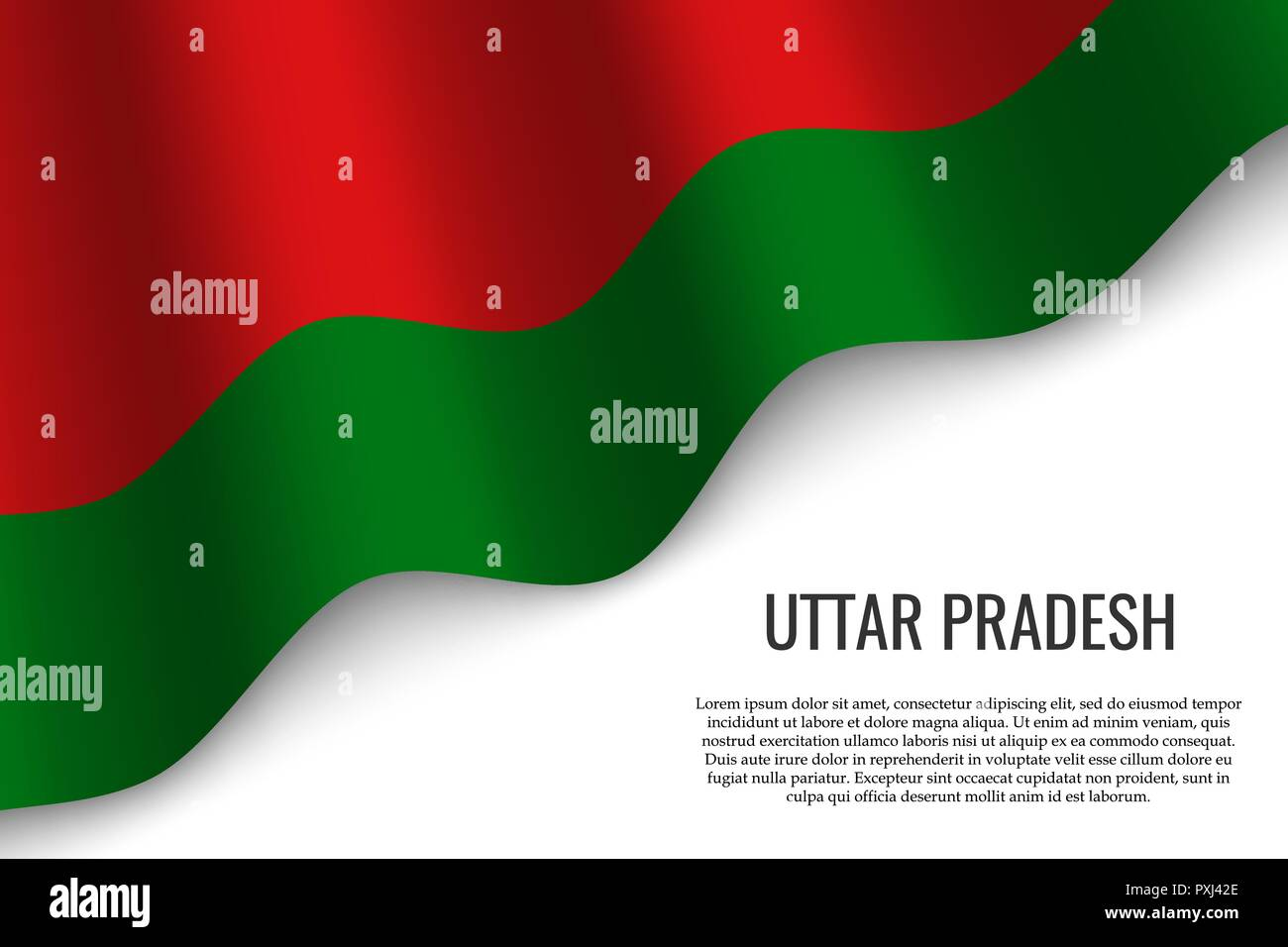 waving flag of Uttar Pradesh is a region of India on white background. Template for banner or poster. - Stock Vector