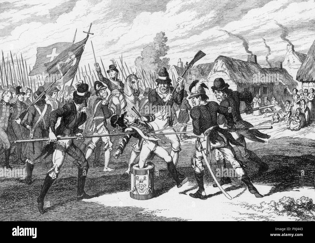 'The Loyal little Drummer': Irish rebels kill drummer-boy who refuses to play for them       Date: June 1798 Stock Photo