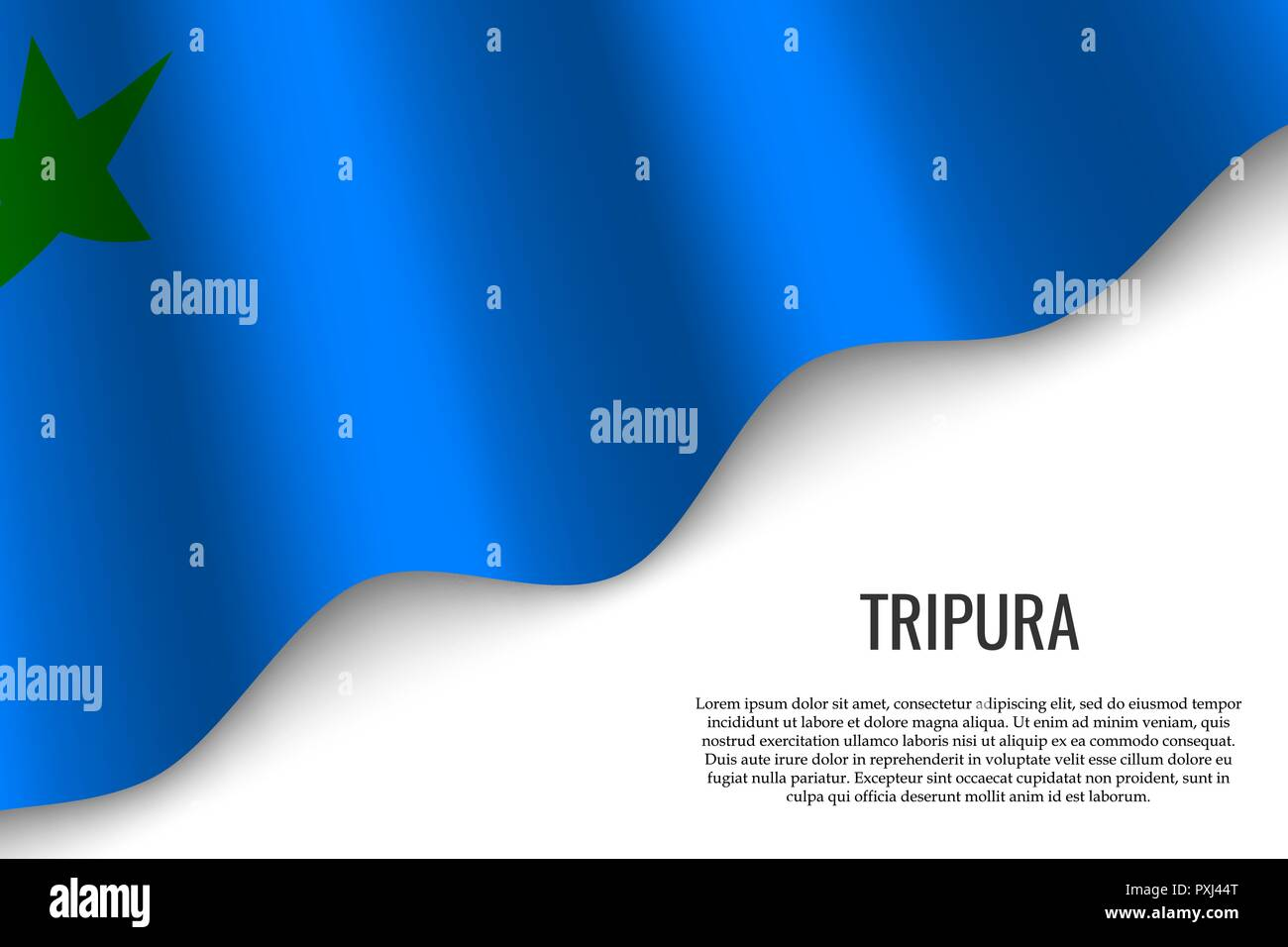 waving flag of Tripura is a region of India on white background. Template for banner or poster. - Stock Vector