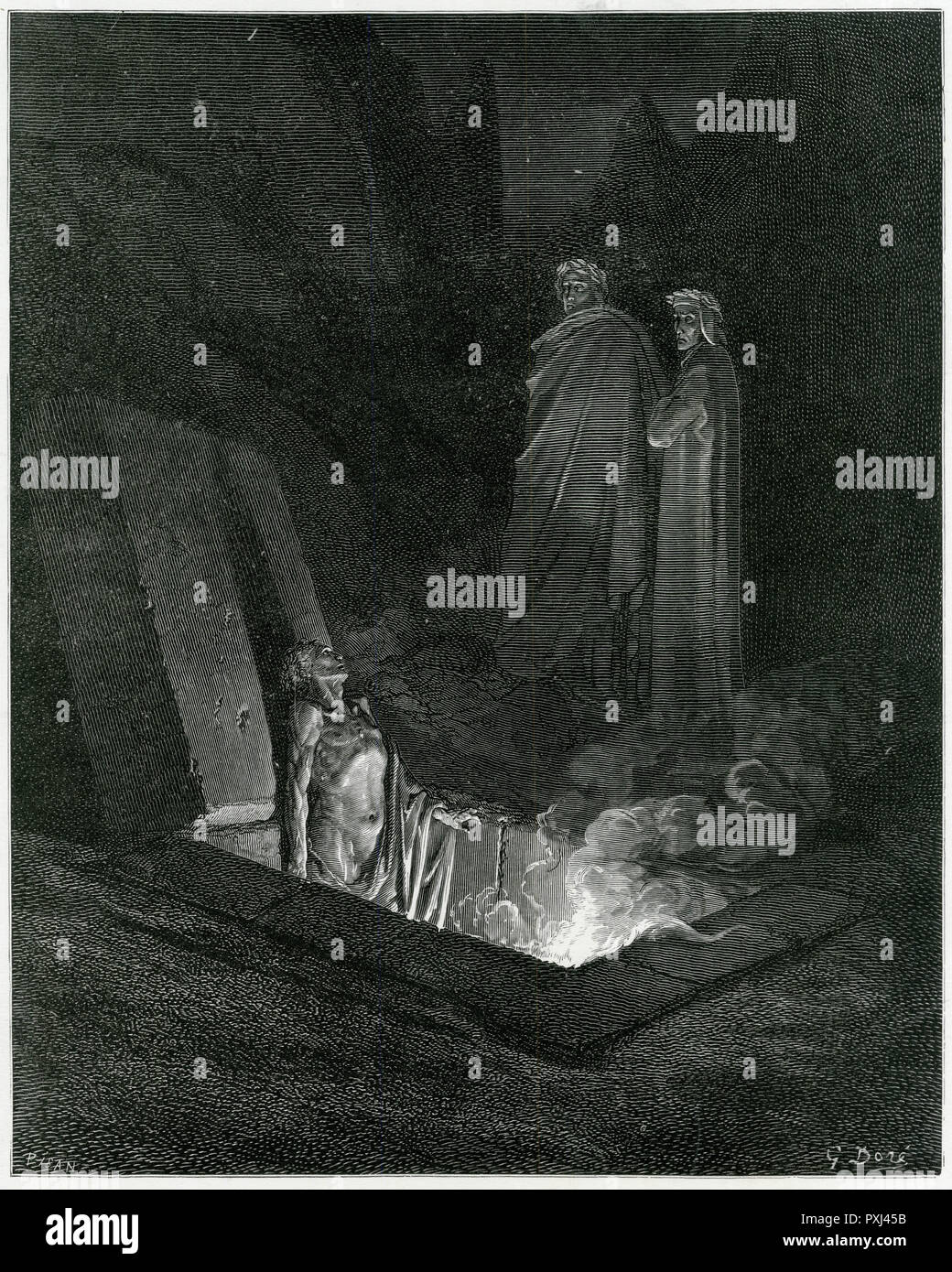 Virgil and Dante contemplate Farinata degli Uberti as he roasts for ever, expiating his wickedness on Earth - Stock Image