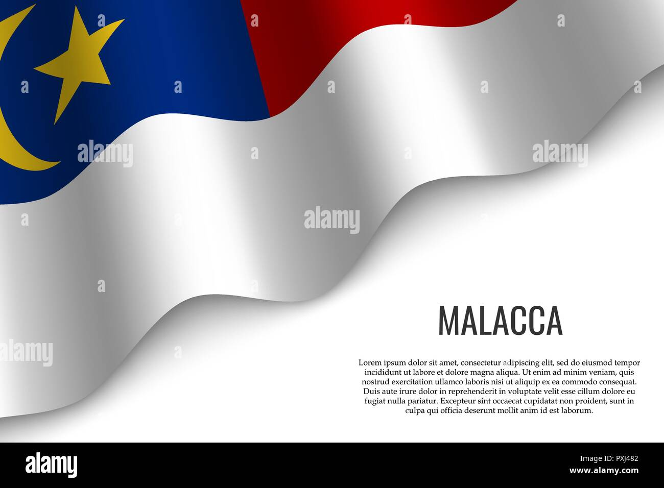 waving flag of Malacca is a region of Malaysia on transparent background. Template for banner or poster. vector illustration - Stock Vector