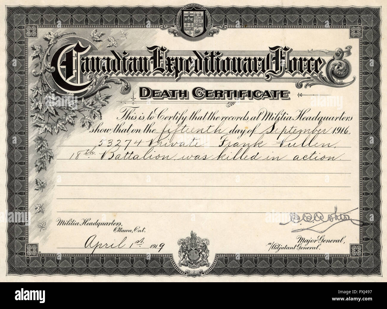 A death certificate for Private Frank Pullen from the Canadian Expeditionary Force dated 1 April 1919, although he died on 15 September 1916.      Date: 1919 - Stock Image