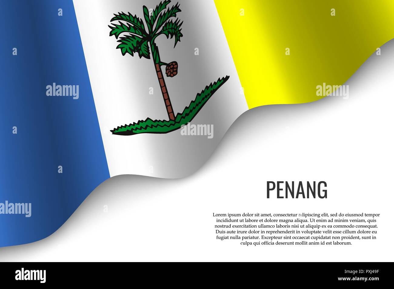 waving flag of Penang is a region of Malaysia on transparent background. Template for banner or poster. vector illustration - Stock Vector