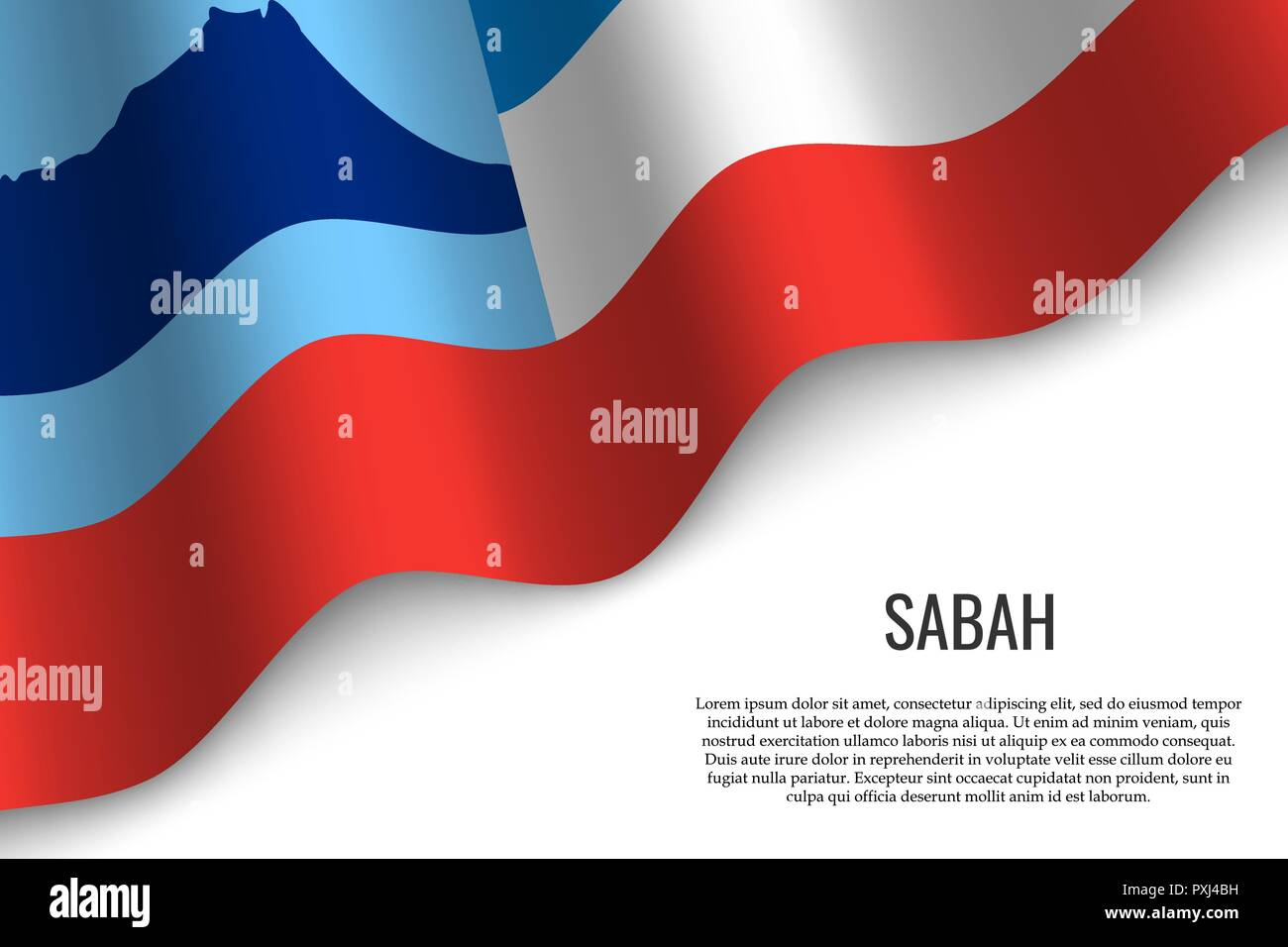 waving flag of Sabah is a region of Malaysia on transparent background. Template for banner or poster. vector illustration - Stock Vector