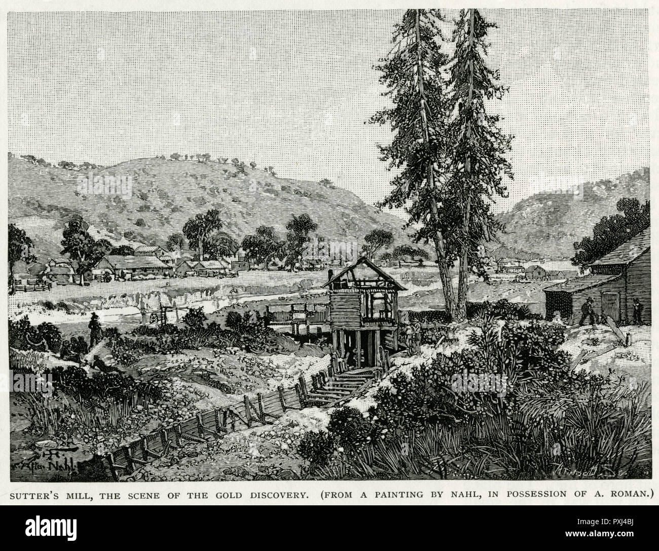 Gold in California, Sutters Mill.     Date: circa 1848 - Stock Image