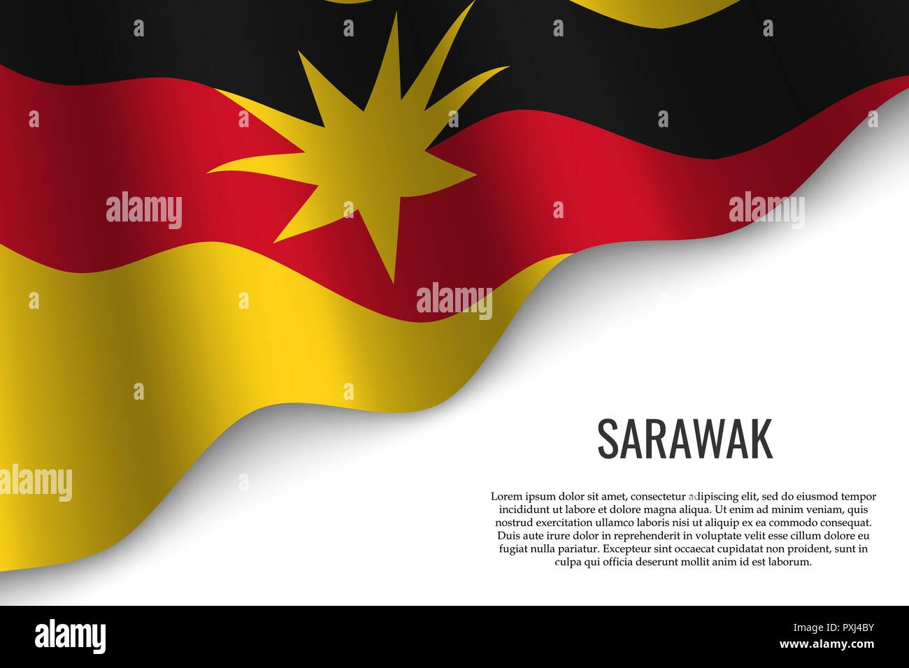 waving flag of Sarawak is a region of Malaysia on transparent background. Template for banner or poster. vector illustration - Stock Vector