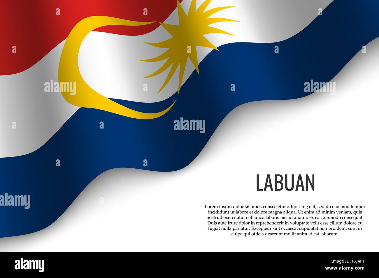waving flag of Labuan is a region of Malaysia on transparent background. Template for banner or poster. vector illustration - Stock Vector